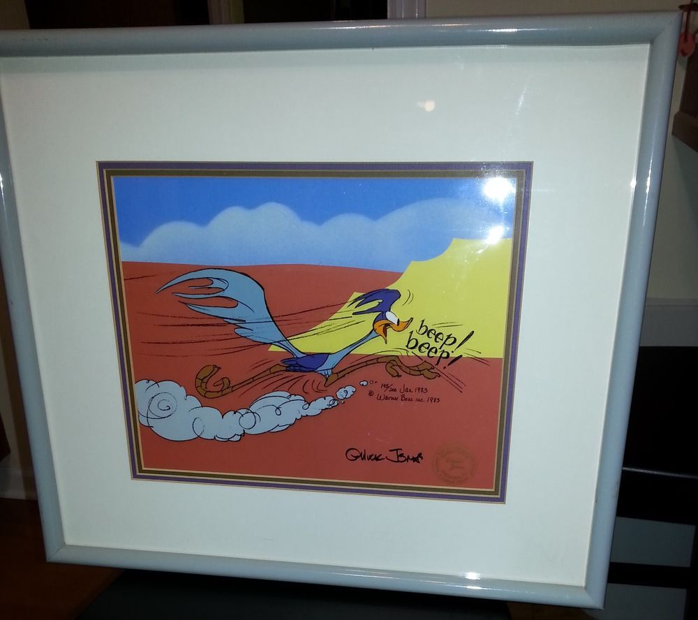 Road Runner Running Hand Painted Cartoon Animation Cel Signed by late cartoonist animator Chuck Jones Ltd Ed 1983 for sale at my eBay store Treasuresinmyhome