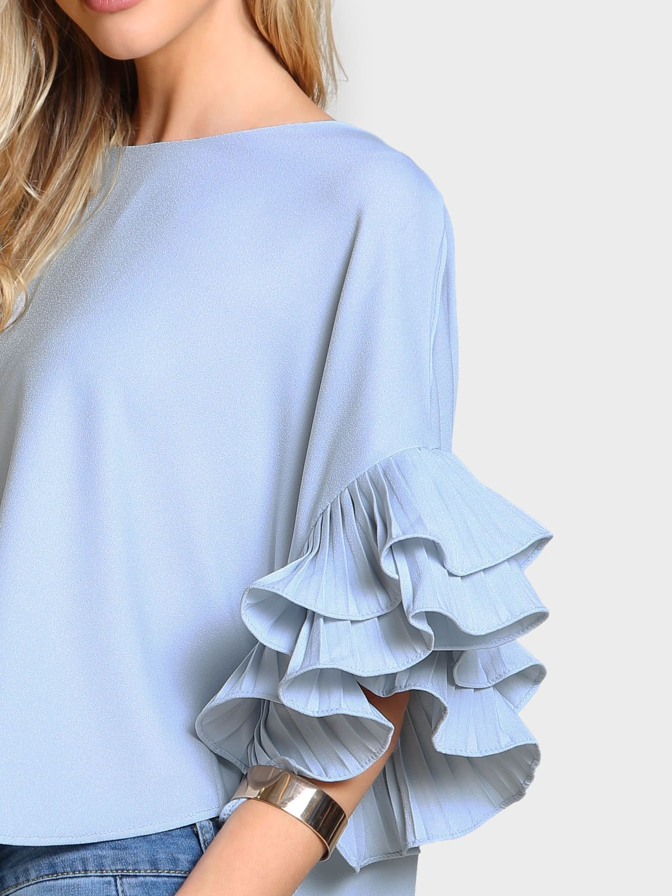 0494677172 Pleated Ruffle Sleeve Dolphin Hem Top -SheIn(Sheinside) Ruffle Sleeve  Dress, Ruffle