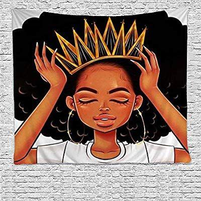 Amazon Com Sara Nell Black Art Wall Tapestry Hippie Art African American Women Girl With Crown Tapestries Afro Girls Queen Hippie Art Afro Girl Black Love Art