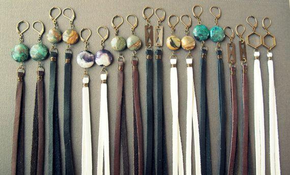 Long leather earrings – Boho earrings – Tassel leather earrings – Precious stone earrings – Statement earrings – Fringe earrings – Leather jewelry