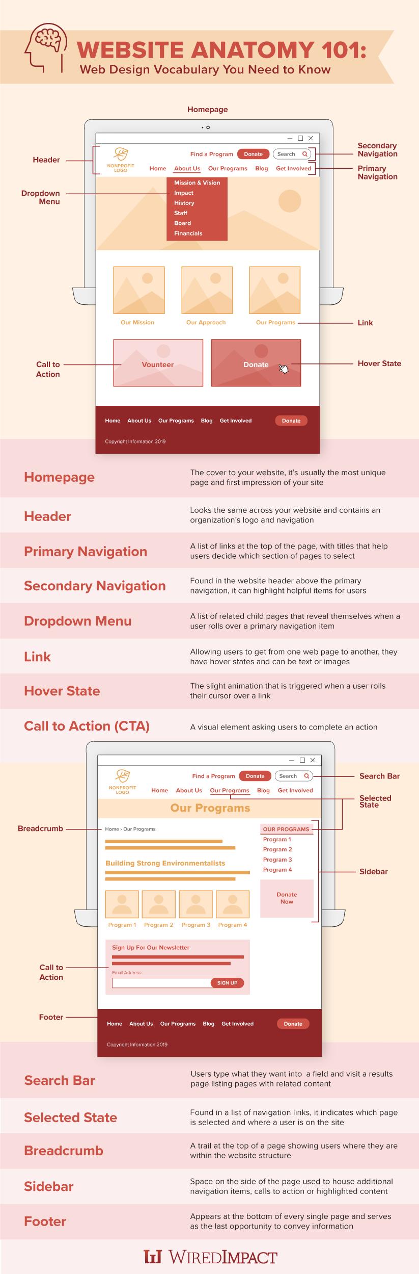 Website Anatomy 101 Web Design Vocabulary You Need To Know Web Design Vocabulary Design