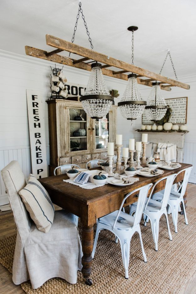 Simple  Neutral Fall Farmhouse Dining Room Rustic cottage