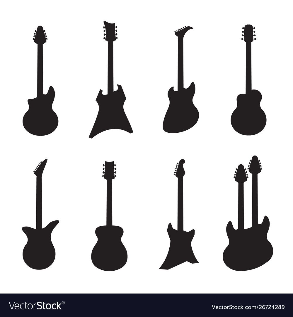 Guitar Silhouettes Black Acoustic And Electric Vector Image Aff Black Silhouettes Gu Art Deco Logo Graphic Design Portfolio Layout Vector Illustration