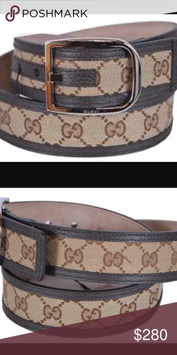 aff077ebe66 Mens Gucci Brown Canvas   Leather Belt Gucci Men s 449716 Beige Brown Canvas  Leather GG Guccisisma Belt 85 34. New belt with plastic tag attached