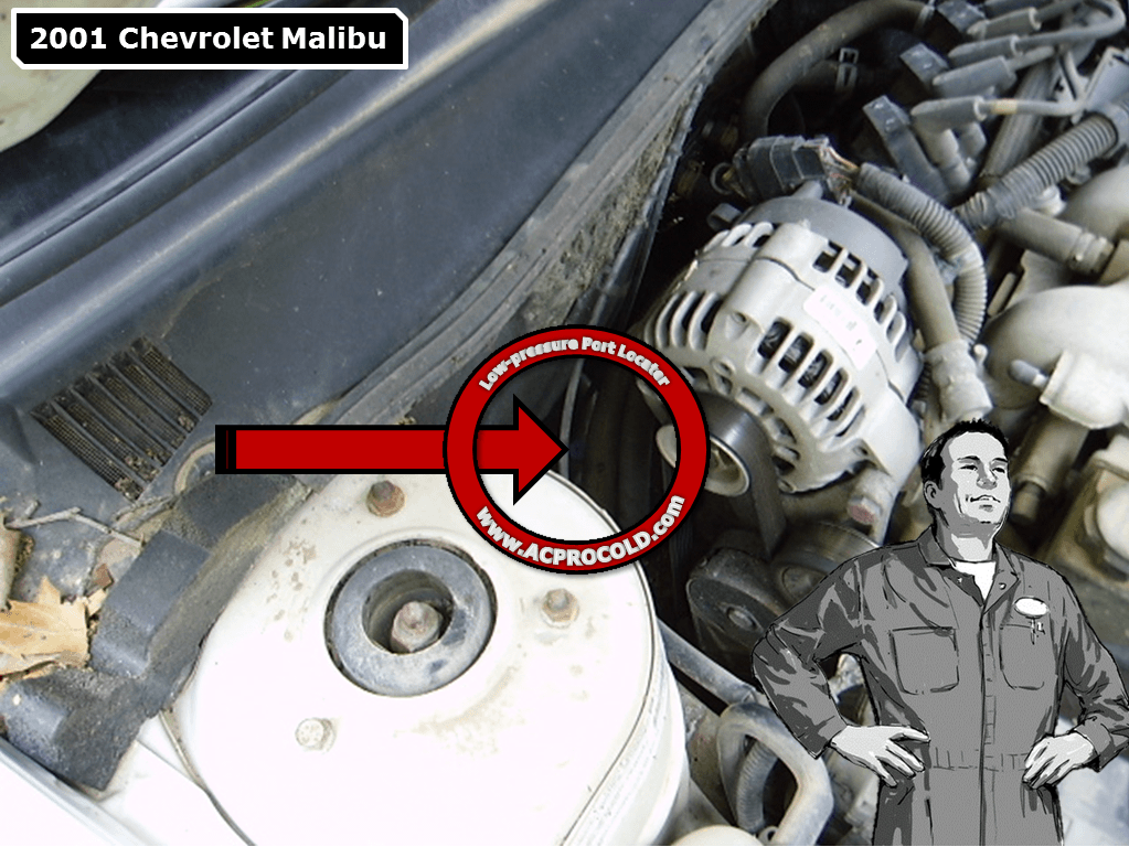 2001 Chevrolet Malibu Low Side Port for A/C Recharge