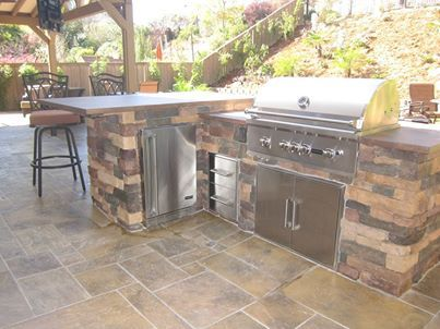 My Newly Landscaped Backyard Including A Coyote 36 Grill And Refrigerator Outdoor Kitchen Outdoor Kitchen Design Outdoor Living