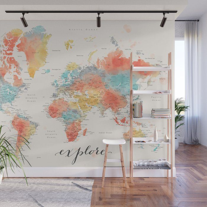 Explore - Colorful watercolor world map with cities Wall Mural by blursbyaishop | Society6 #worldmapmural