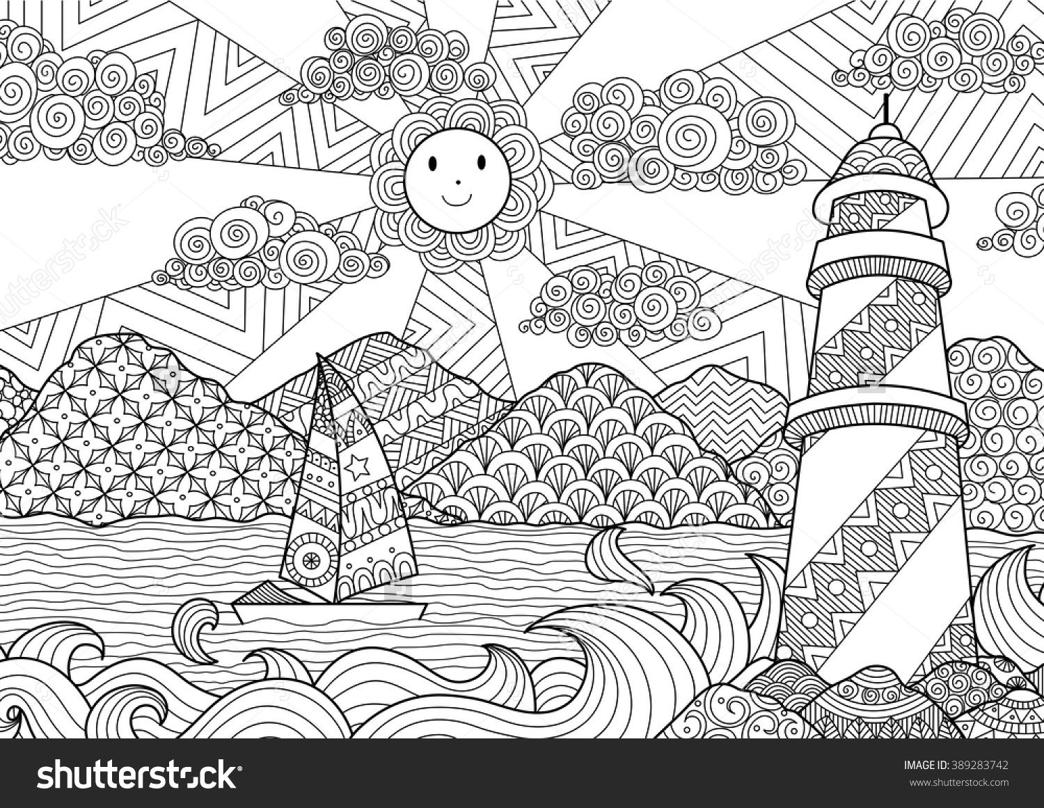 seascape line art design for coloring book for adult anti stress coloring stock vector - Line Art Coloring Pages