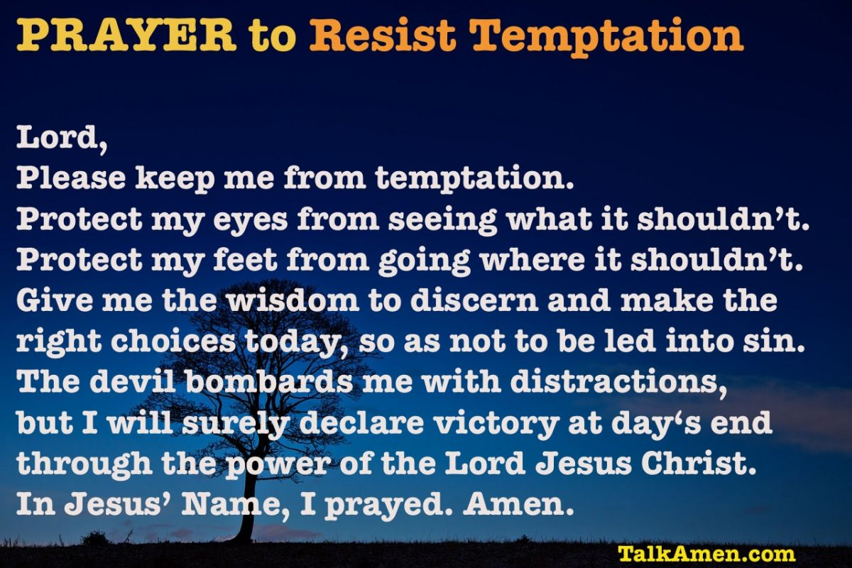 Prayer to Resist Temptation | Temptation quotes, Prayers, Everyday ...