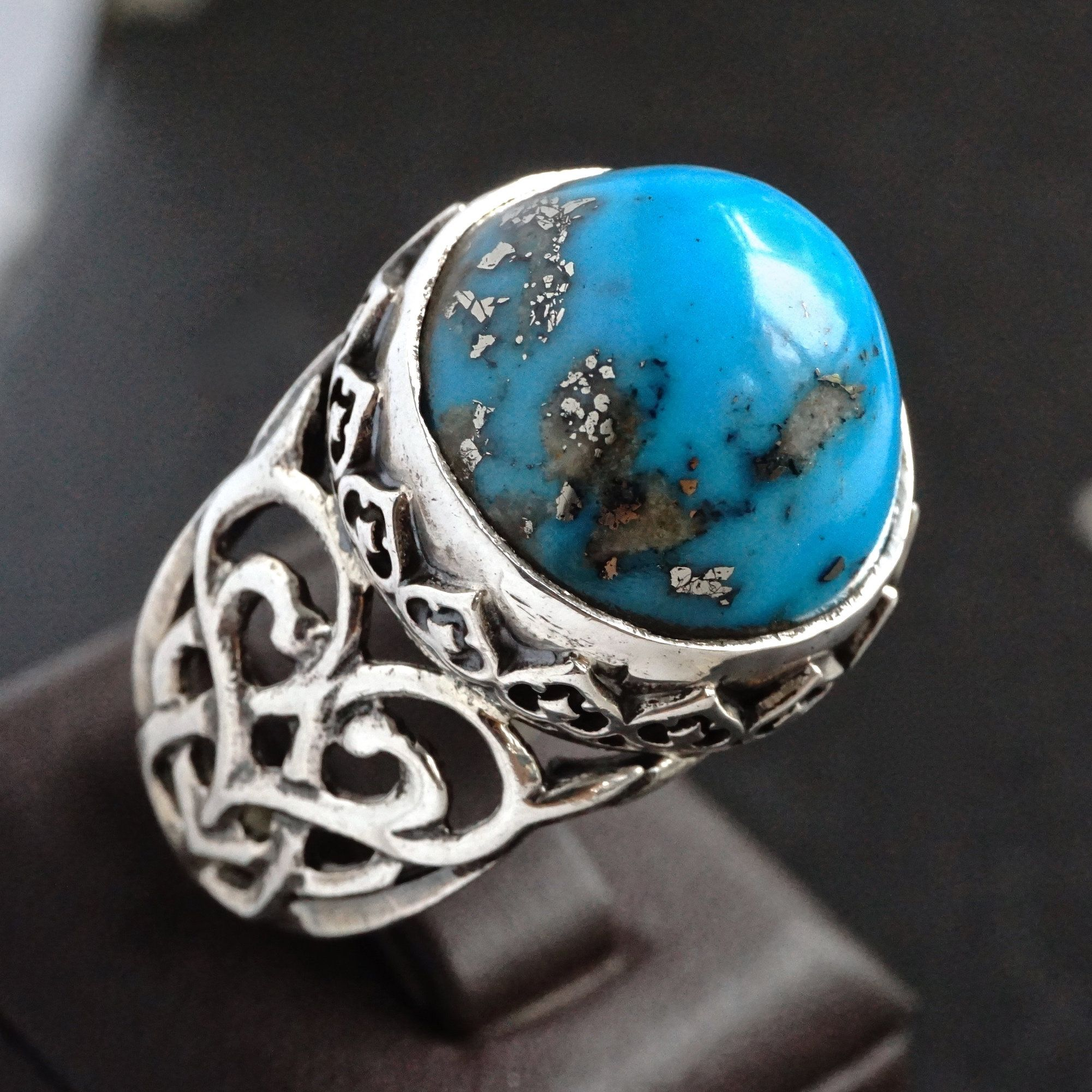 925 Sterling Silver Mens Ring Blue Turquoise with pyrite