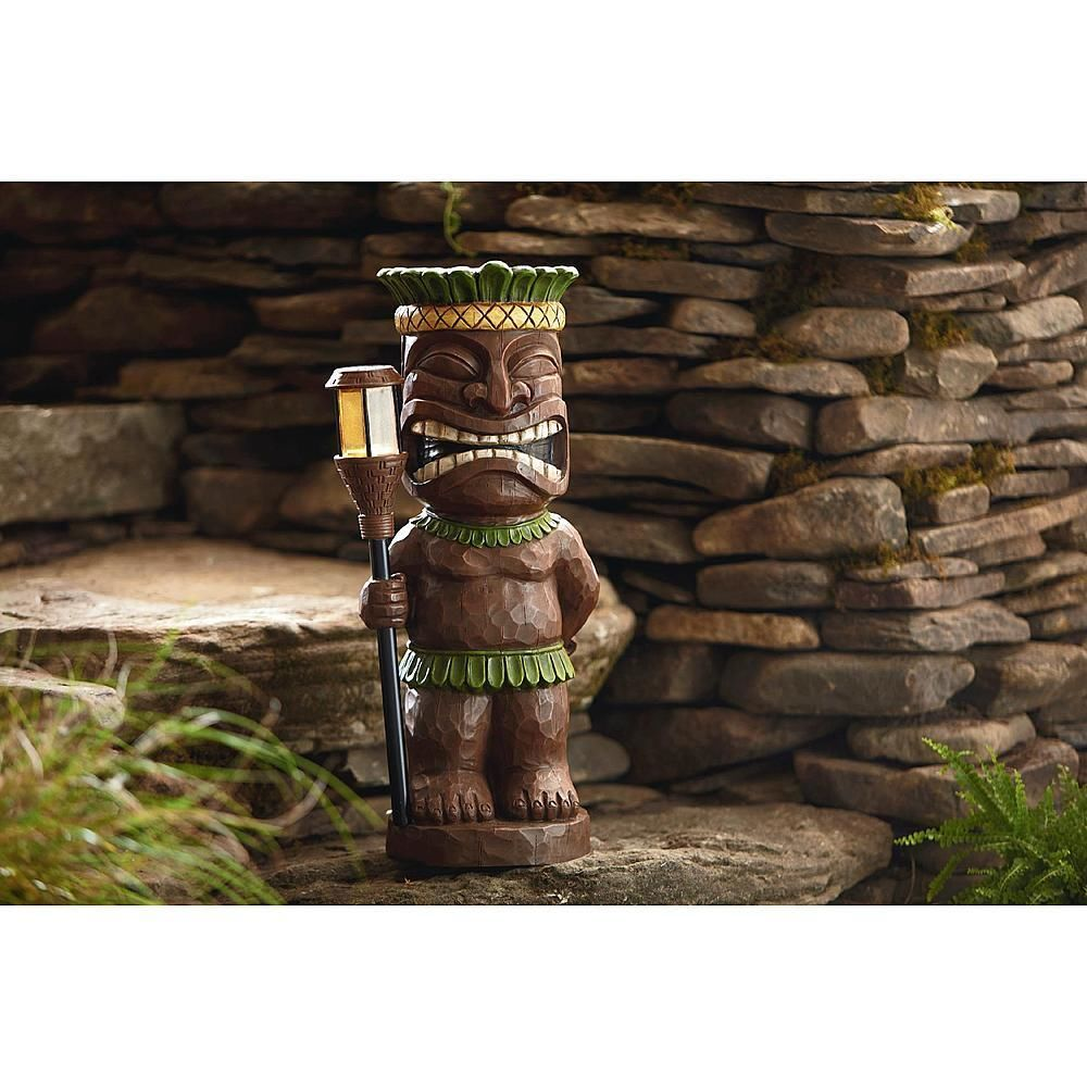 Lovely Garden Oasis Tiki Statue With Solar Light Solar Lawn Ornaments Statues Tiki  Bar $84.99