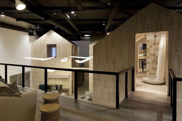 Showroom design gallery nido in sofia little wood houses design showroom