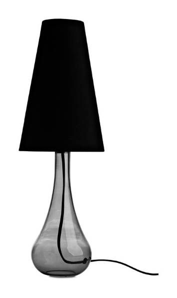 Boconcept grace table lamp smoke colored glass black fabric shade