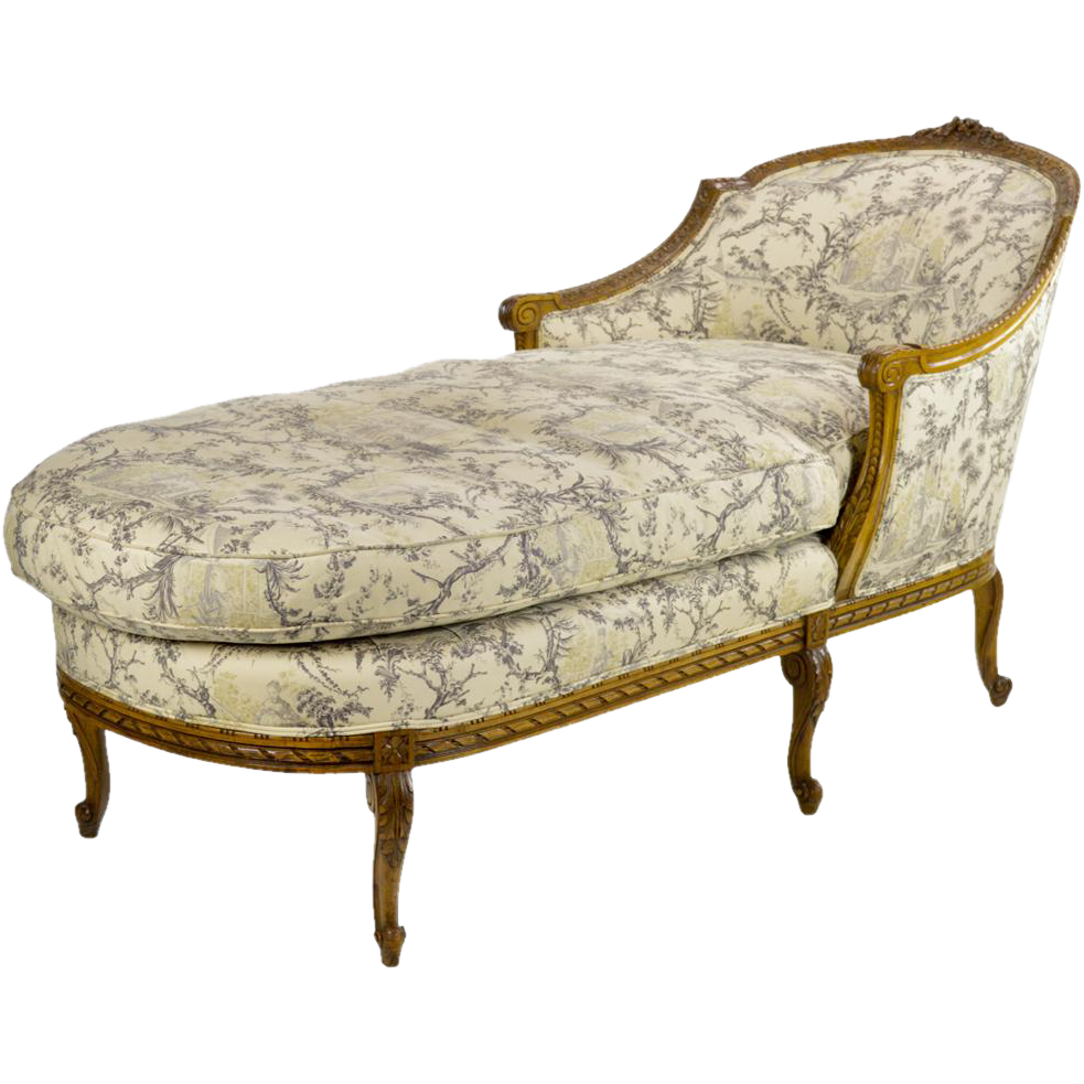 Vintage French Chaise Longue Chaise Lounge Toile With Down Cushion Chaise Lounge Furniture Chaise