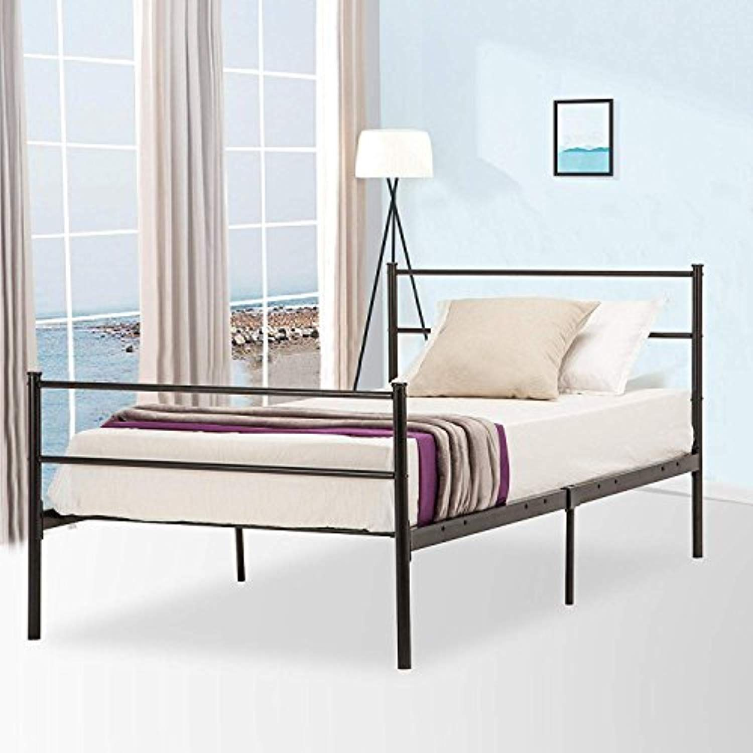 Mecor Reinforced Metal Bed Frame Twin Size Platform Bed With Metal Headboard Footboard And 6 Legs N Twin Size Metal Bed Frame Metal Bed Frame Bedroom Headboard