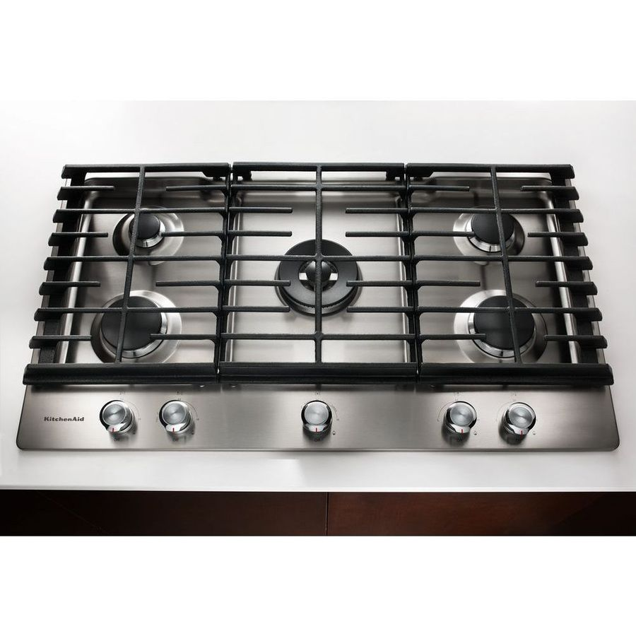 KitchenAid Gas Cooktop W/ BTU Professional Dual Ring Burner   Stainless  Steel 1