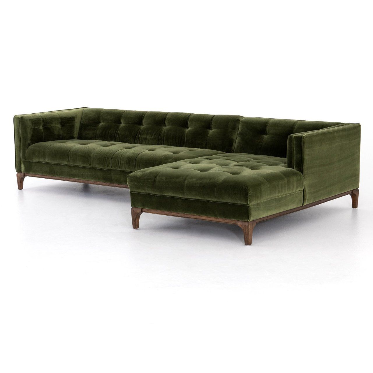 Dylan Modern Olive Green Velvet Tufted Sectional Sofa Tufted Sectional Sofa Sectional Sofa Green Sofa