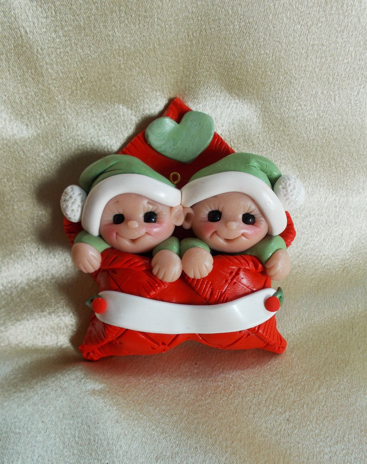 Personalized baby christmas ornaments - Twin Baby Ornament Twin Ornament Baby S First Christmas Twins Polymer Clay Sculpture Baby Gift Twin Personalized Baby Gift Children
