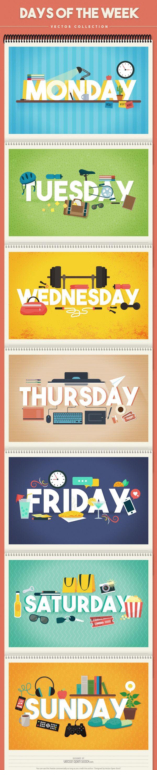 Days Of The Week Vector Online Editor Vector Free Free Vector Graphics Vector Online Days of the week horizontal