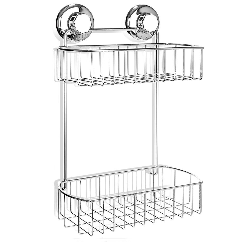 Stainless Steel 2Tier Basket Shower Caddy with Strong Suction Cup ...