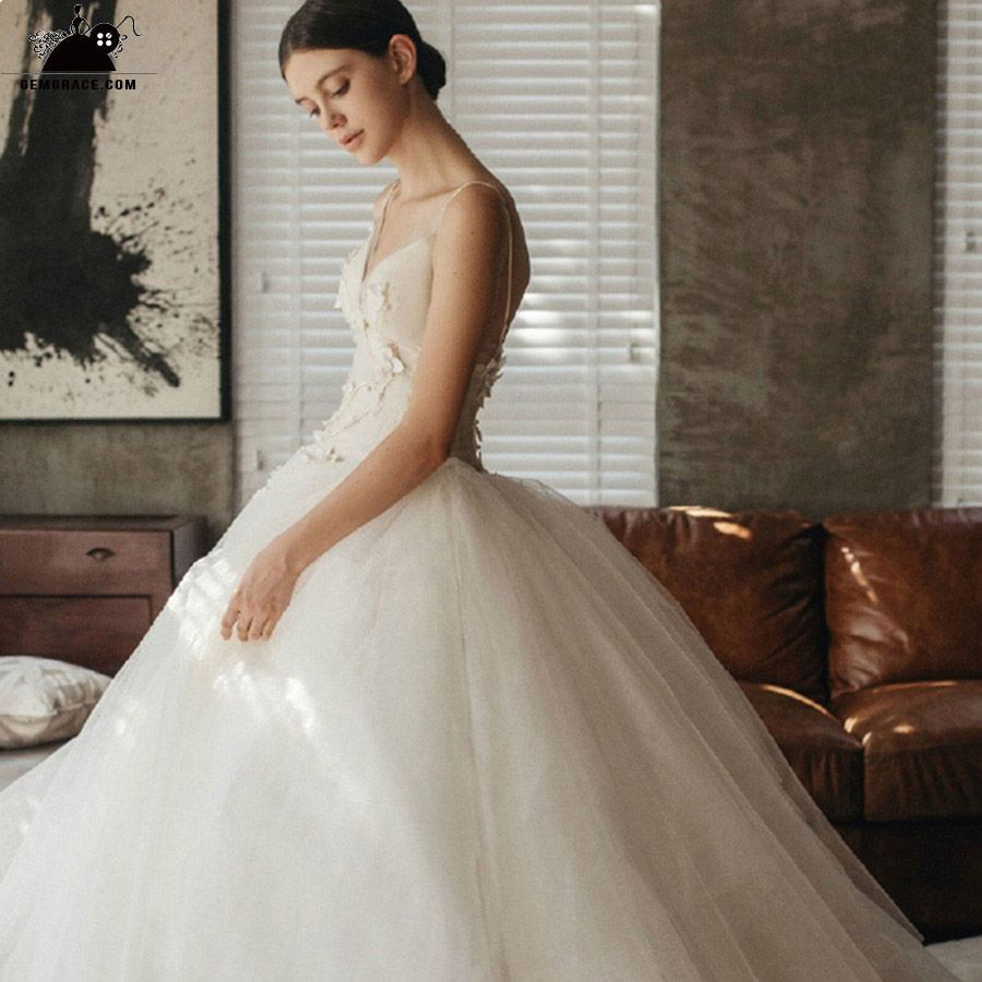 Beaded ball gown wedding dress  Peachy Vneck Beaded Ballgown Wedding Dress with Spaghetti Straps