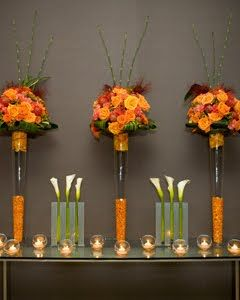 Tall fall centerpieces #roses #centerpiece #tall #orange