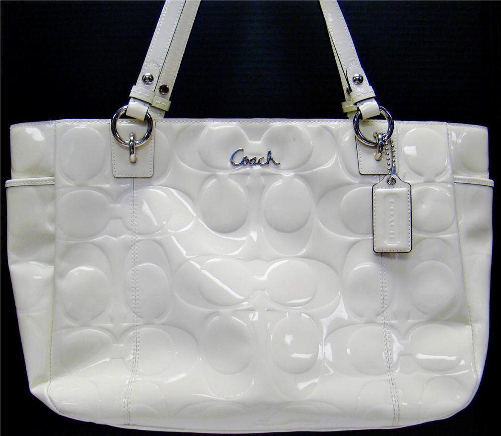 Coach Las White Signature Embossed Patent Leather Tote Handbag Purse F17729 Totespers