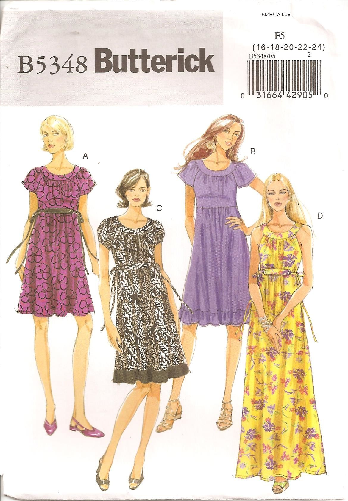 Butterick 5348 Pattern Misses Dress Sizes 16 Thru 24 Dress In Three Lengths With Raglan Sleeves Or Dress Sewing Pattern Pretty Boho Dresses Sewing Dresses [ 1684 x 1169 Pixel ]