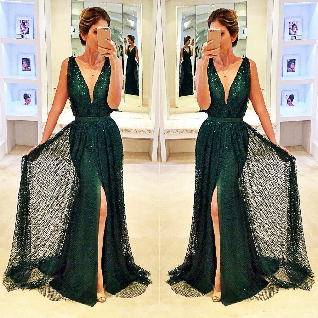 Sexy dark green prom dressesvneck long mermaid evening dresses