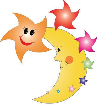 Moon happy. Free clipart picture of