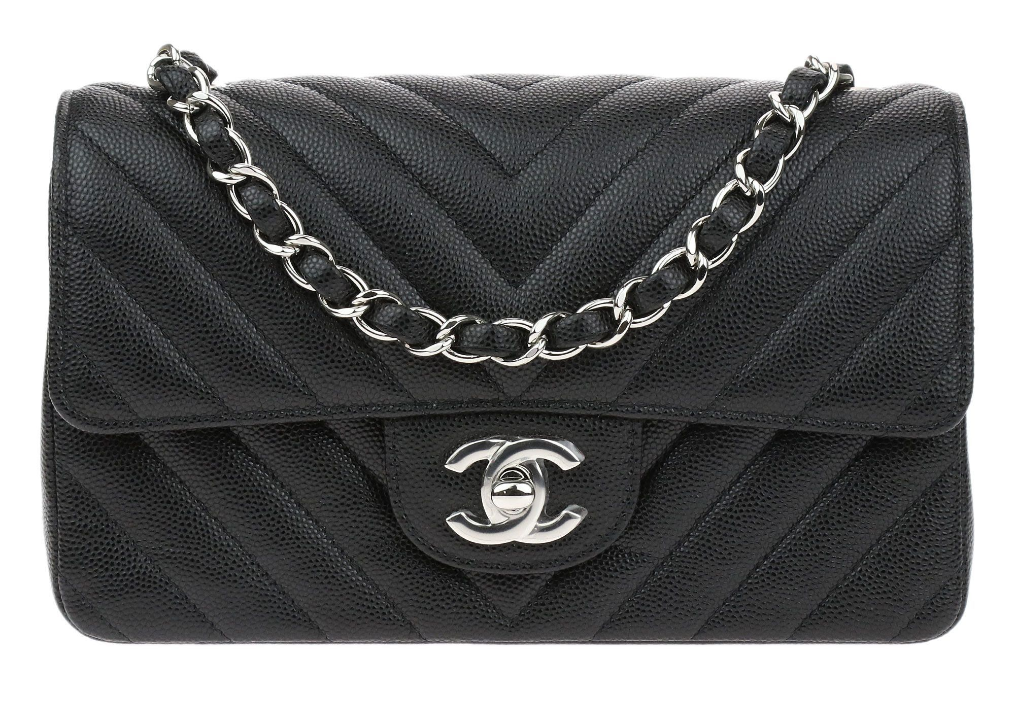 3bc5cb6138a9a7 Chanel 17S Black Caviar Leather Chevron Quilted Rectangular Mini Flap Bag