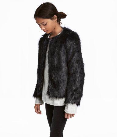 bb8cc5c7b Faux Fur Jacket | Black | KIDS | H&M US | Lillian loves fashion ...
