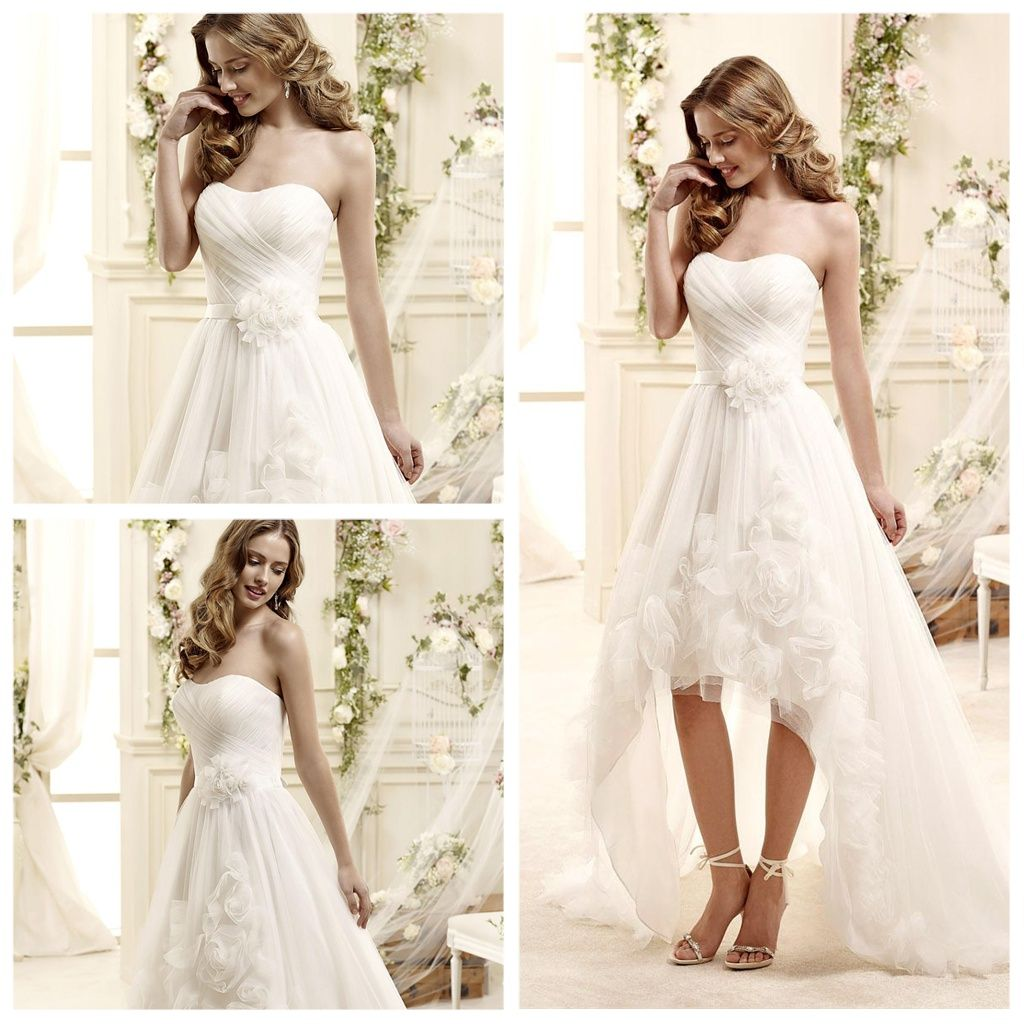 Cheap wedding dresses short front long back  Spring Organza Short Front Long Back Wedding Dress