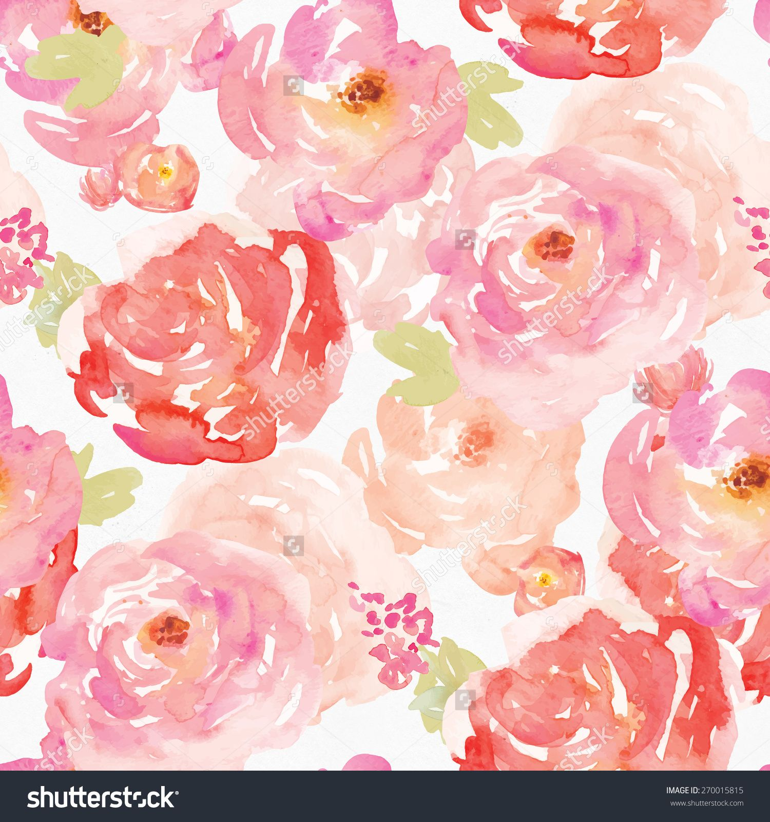 Colorful Watercolor Floral Background Pattern. Repeating