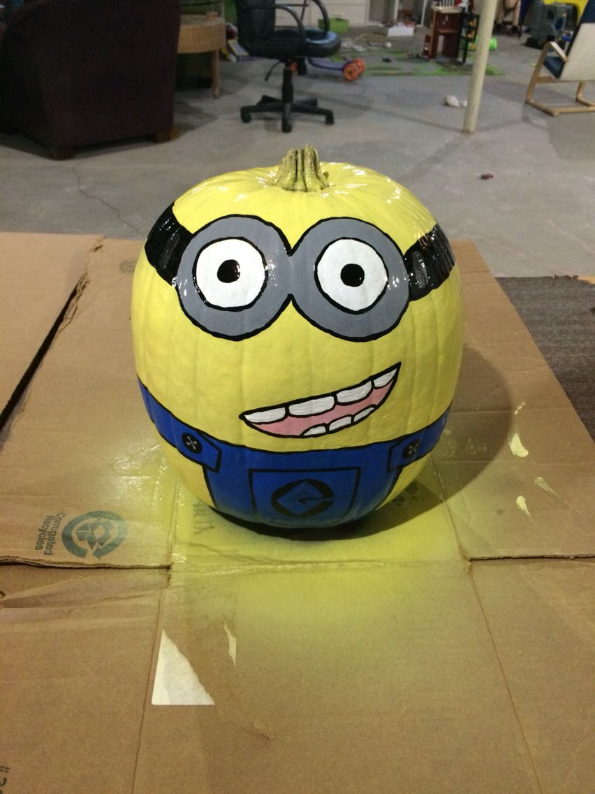 Painted Minion Pumpkins Minion Pumpkin Painting Chefworkscateringcom Painted Minion