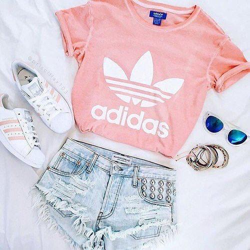 pink adidas shirt, pink superstars, and shorts