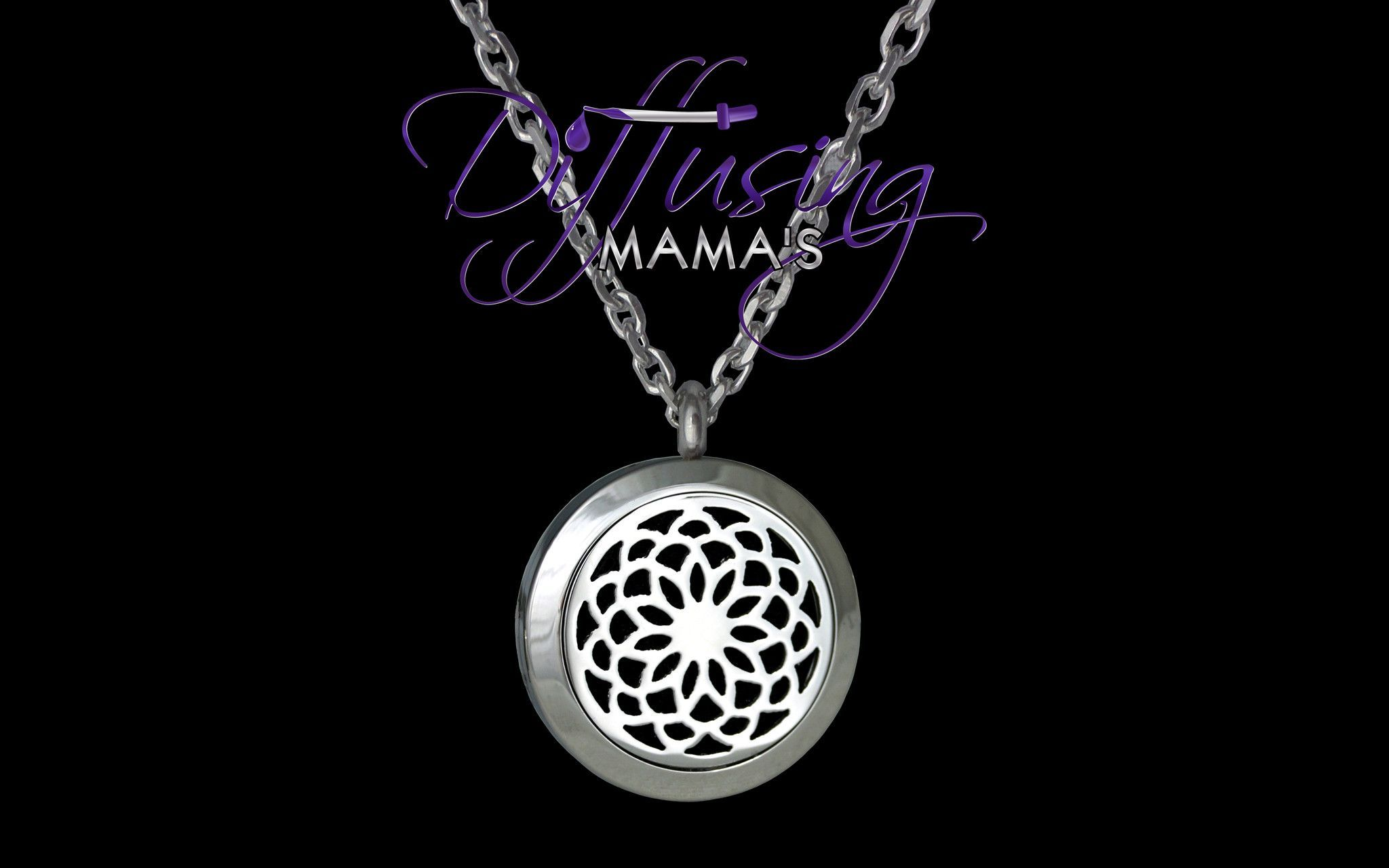 Round Silver New Lotus Flower 25mm Aromatherapy Essential Oils