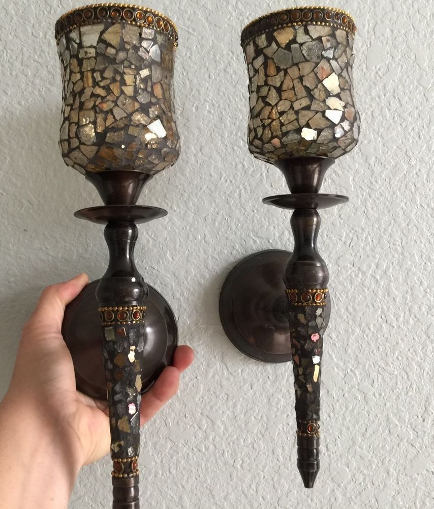 Amber Fusion Jeweled Mosaic Wall Sconce Candle Holders W Glass