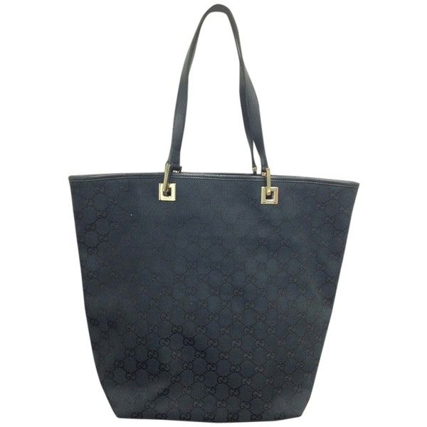 Pre-owned Gucci #4737 Canvas Black Gg Beige Tote Bag ($175) ❤ liked on Polyvore featuring bags, handbags, tote bags, beige, black handbags, black tote bag, gucci purses, black tote and black purse