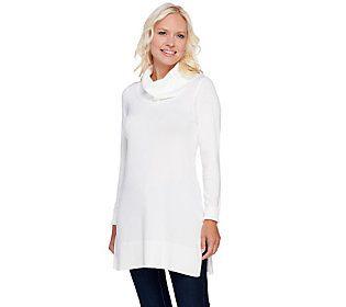 Susan Graver Rayon Nylon Long Sleeve Cowl Neck Tunic Sweater ...
