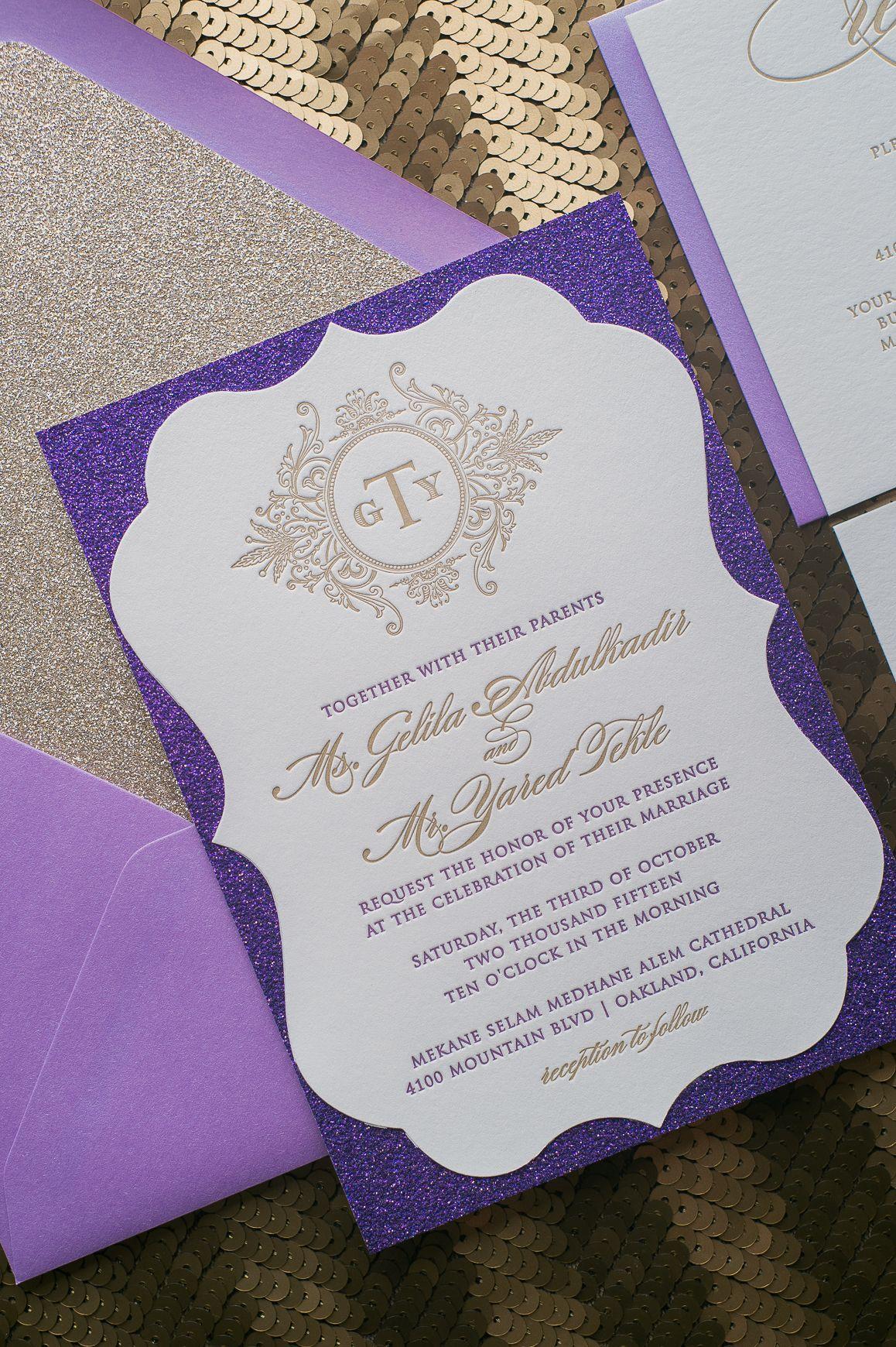 Ornate Letterpress Wedding Invitations, Purple and Gold, High End ...