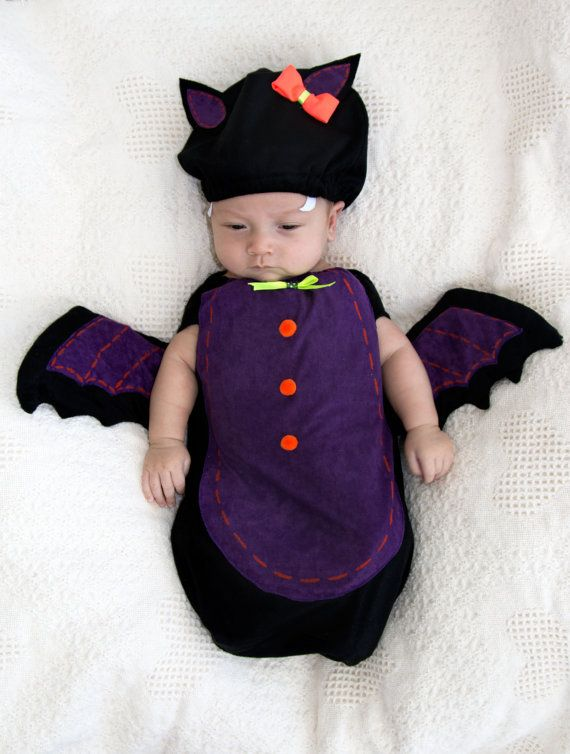 Baby Costume Cute BAT Costume Halloween Newborn Costume Hat and baby  swaddle-Baby girl Newborn - Baby Costume Cute BAT Costume Halloween Newborn Costume Hat And