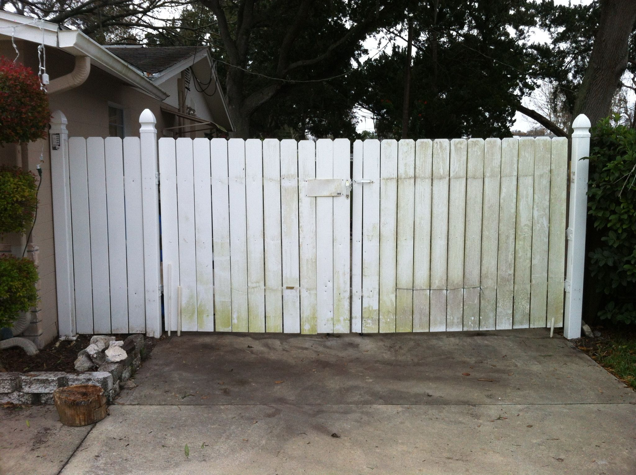 Old vinyl fence and gate. | Handmade metal frame and wood gate ...
