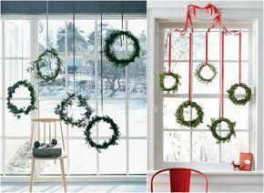 Bodentiefe Fenster Weihnachtlich Dekorieren Hangende Kranze