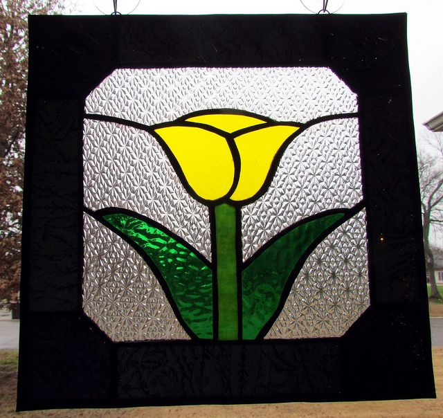 Yellow tulip stained glass