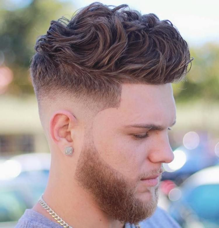 Medium Fade For Thick Curly Hair Wavy hair men, Cool