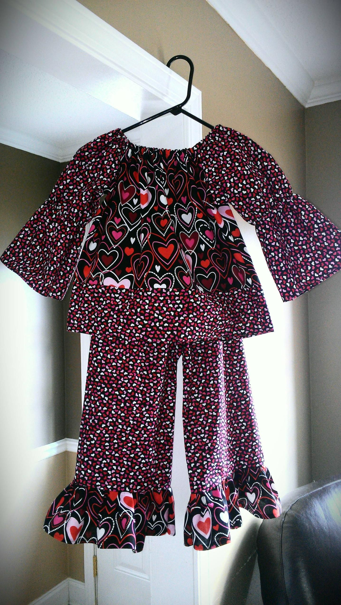 A Valentine peasant top and ruffle pants... Thanks @Vanessa McWhorter for the pattern!