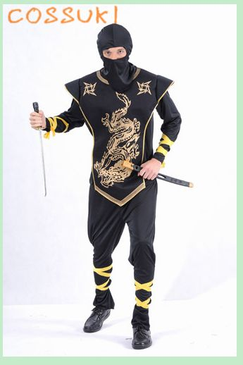 >> Click to Buy << Free Shipping! Halloween Cool Adult Men Black Gold Ninja Samurai Cosplay Costume For Stage Performance Or Masquerade Party #Affiliate