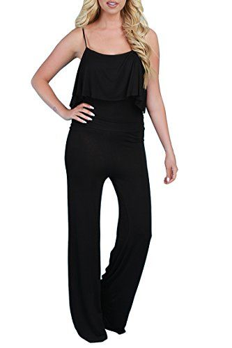 1c4a43c0c3 Linsery Womens Spaghetti Strap Ruffle Top High Waisted Pants Black Party  Outfits    Click image for more details. (This is an affiliate link)   ...