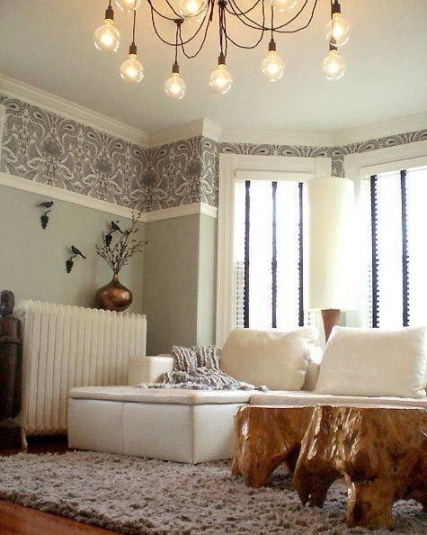 A Different Kind Of Wallpaper Border Home Living Room Light Fixtures Dado Rail Living Room